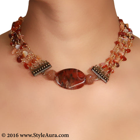 Brown Agates Choker and side Cezete beads with Coper attachments 2