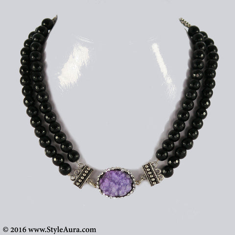 Double layer Black Onyx Choker with center Purple Druzy stone pendant embellished with Zercons 1