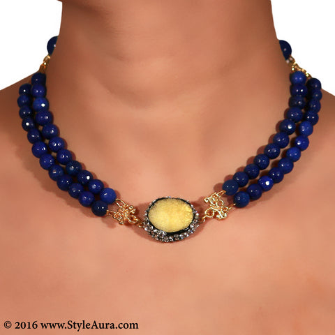 Double layer Blue Onyx Choker with center Yellow Druzy stone pendant embellished with Zercons 2