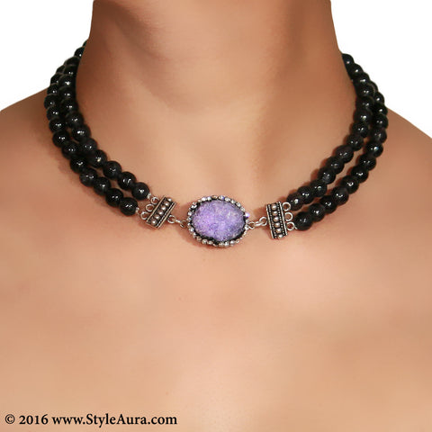 Double layer Grey Onyx Choker with center Purple Druzy stone pendant embellished with Zercons 2