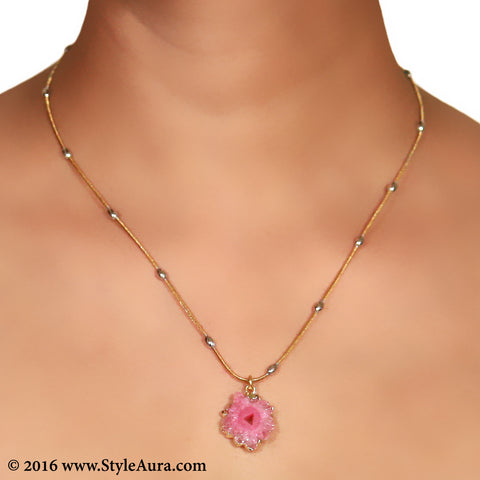Gold chain with Silver balls and center Pink Druzy 2