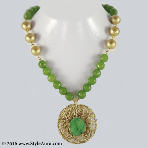 Green Onyx with Gold textured Pearl and mesh Druzy pendant 1