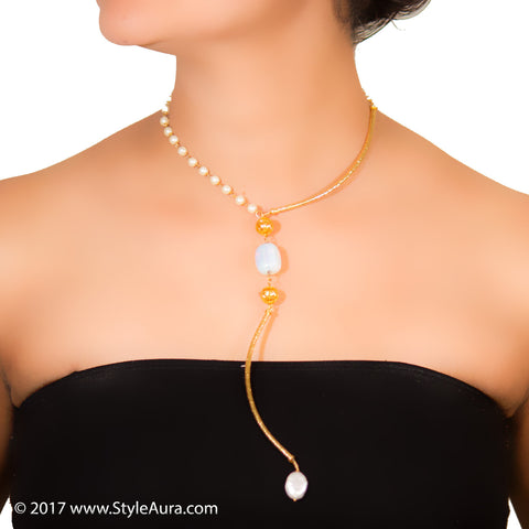 StyleAura - Moonstone with micro plated Gold Phulkaris in Gold long Hasli, Pearl and Baroque drop