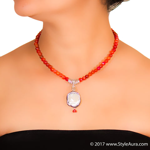 StyleAura - Mother of Pearl necklace in Silver finish drop and Shaded Orange Onyx