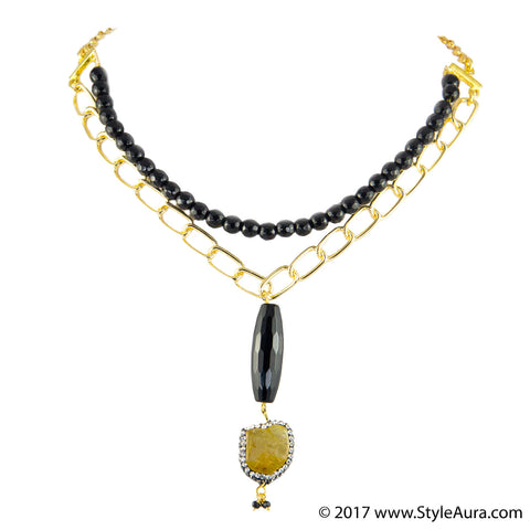 StyleAura - Rutile Quartz and black Agate drop Choker in Black Onyx and Gold chain