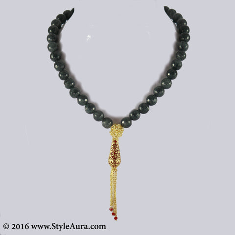 Shaded Grey Black Onyx with Gold mesh and Meenakari pendant with chain finish 1