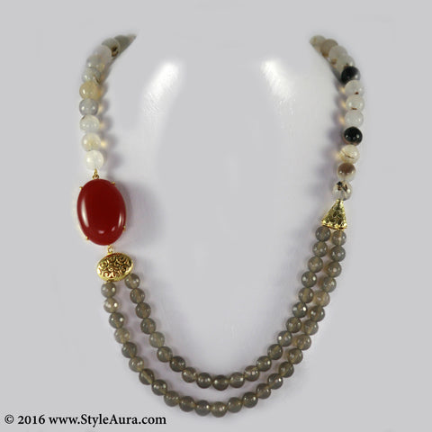 Shaded Off-white and Grey Onyx and Red side Agate 1