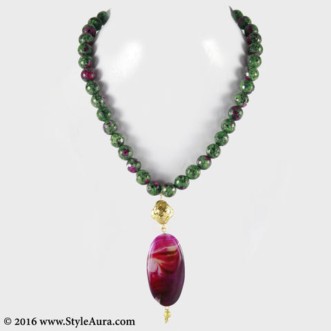 Shaded Onyx in Green and Magenta with micro plated Gold bead and Purple Pink natural Amber 1