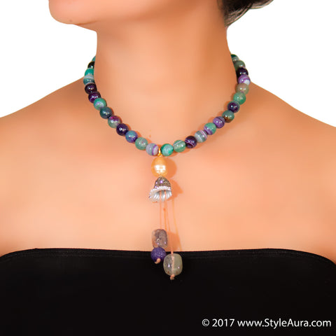 StyleAura - Shaded Purple Onyx necklace with Smokey Quartz tassel drops in Cubic Zercon cone and Gold Baroque