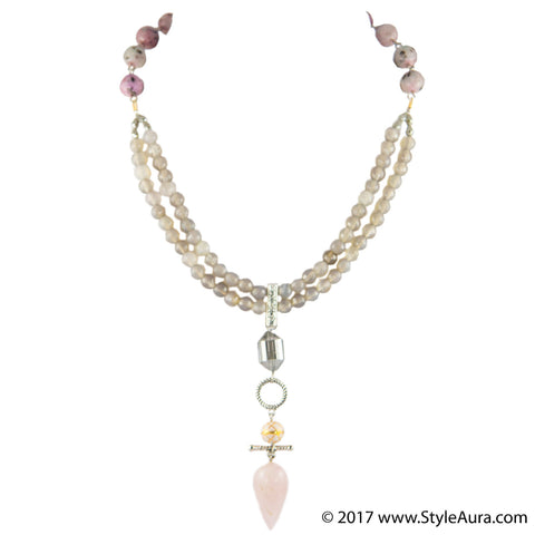 StyleAura - Two layer Grey Onyx and shaded Pink Onyx Choker with Rose Quartz drop with Pink Meenakari and Silver crystal