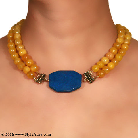 Yellow Onyx two layer Choker with Blue natural Agate with Copper attachments 2