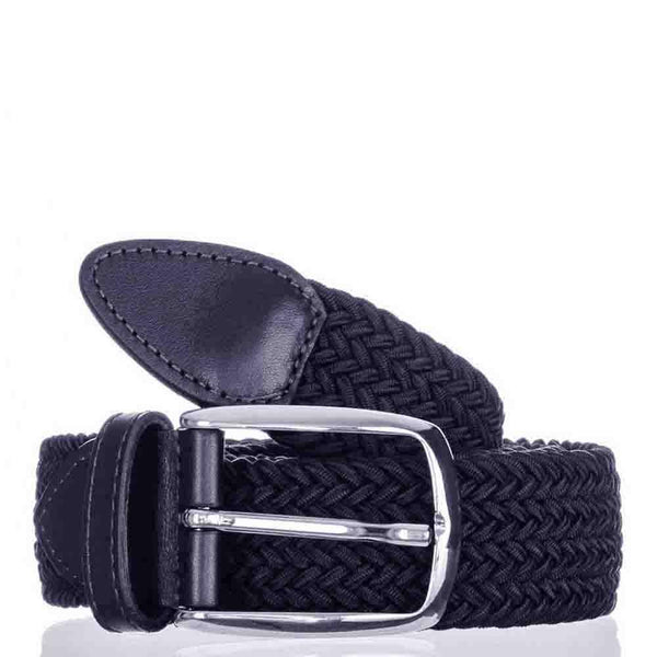 Navy Leather Trimmed Woven Belt