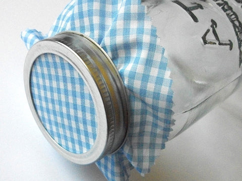 Blue & White Gingham Jam Jar Covers | CanningCrafts.com