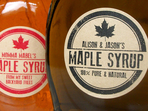 Custom Kraft Rubber Stamp Maple Syrup Bottle Labels | CanningCrafts.com