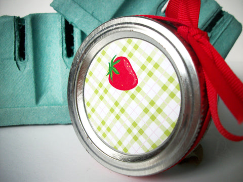Plaid Strawberry Canning Labels | CanningCrafts.com