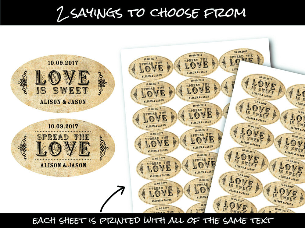 Vintage Oval Spread the or Love is Sweet wedding labels | CanningCrafts.com