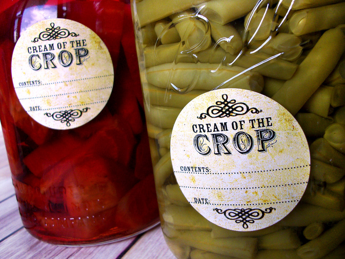 Vintage Cream of the Crop Canning Mason Jar Labels | CanningCrafts.com