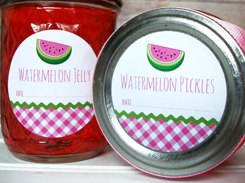 Gingham Watermelon Jelly & Pickles Canning Labels | CanningCrafts.com