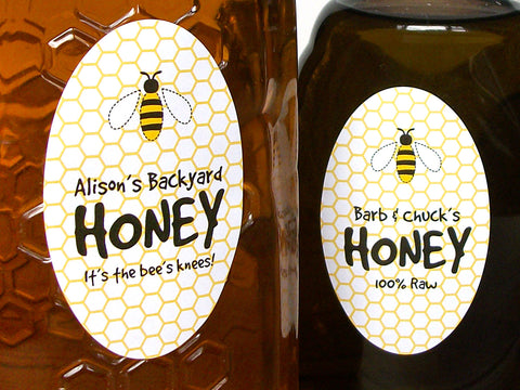 Custom Cute Honey Bee Large Oval Honey Labels | CanningCrafts.com