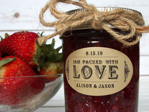 Kraft Oval Jam Packed with Love Wedding Canning Labels | CanningCrafts.com