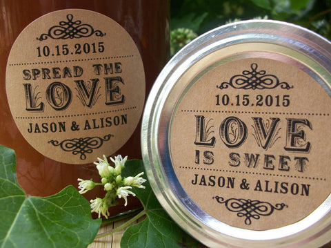 Kraft Spread the Love or Love is Sweet Wedding Labels | CanningCrafts.com