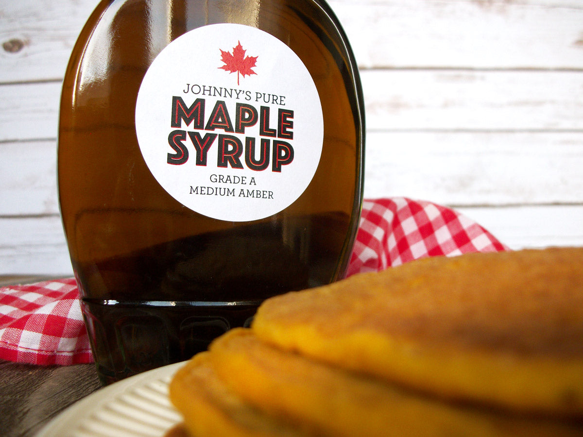 custom Modern Maple Syrup stickers | CanningCrafts.com