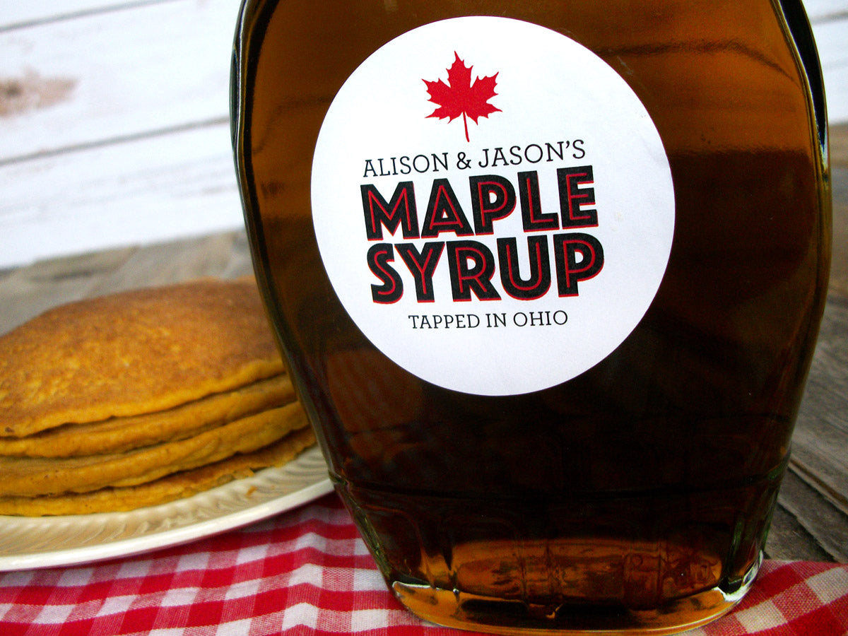 custom Modern Maple Syrup bottle labels | CanningCrafts.com
