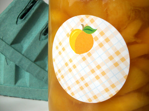 Plaid Apricot Peach Canning Labels | CanningCrafts.com