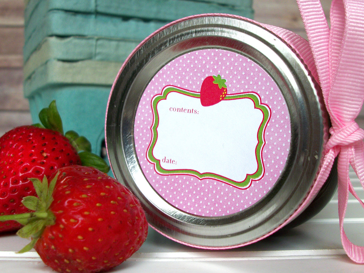 Cute Pink Strawberry Canning Labels | CanningCrafts.com