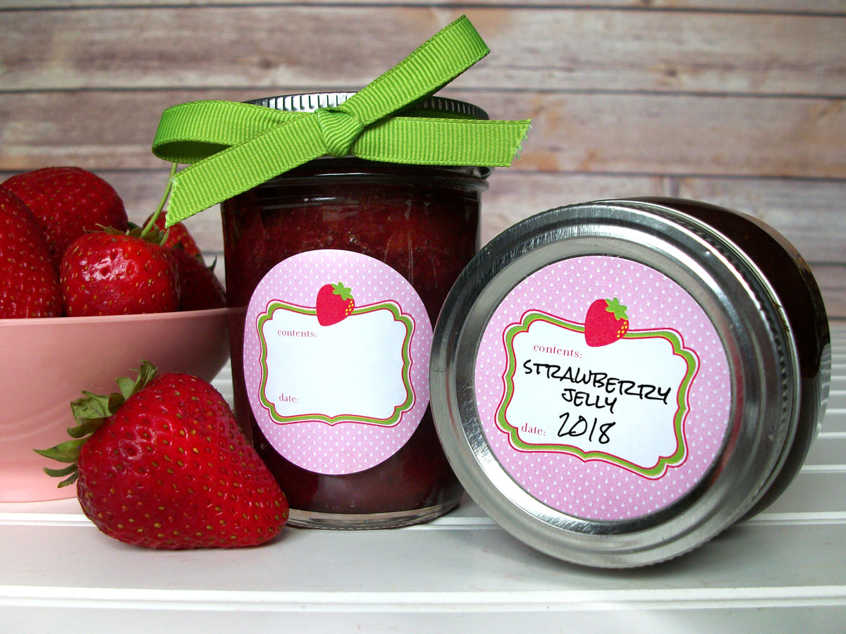 Cute Pink Strawberry Jam & Jelly Canning Labels | CanningCrafts.com