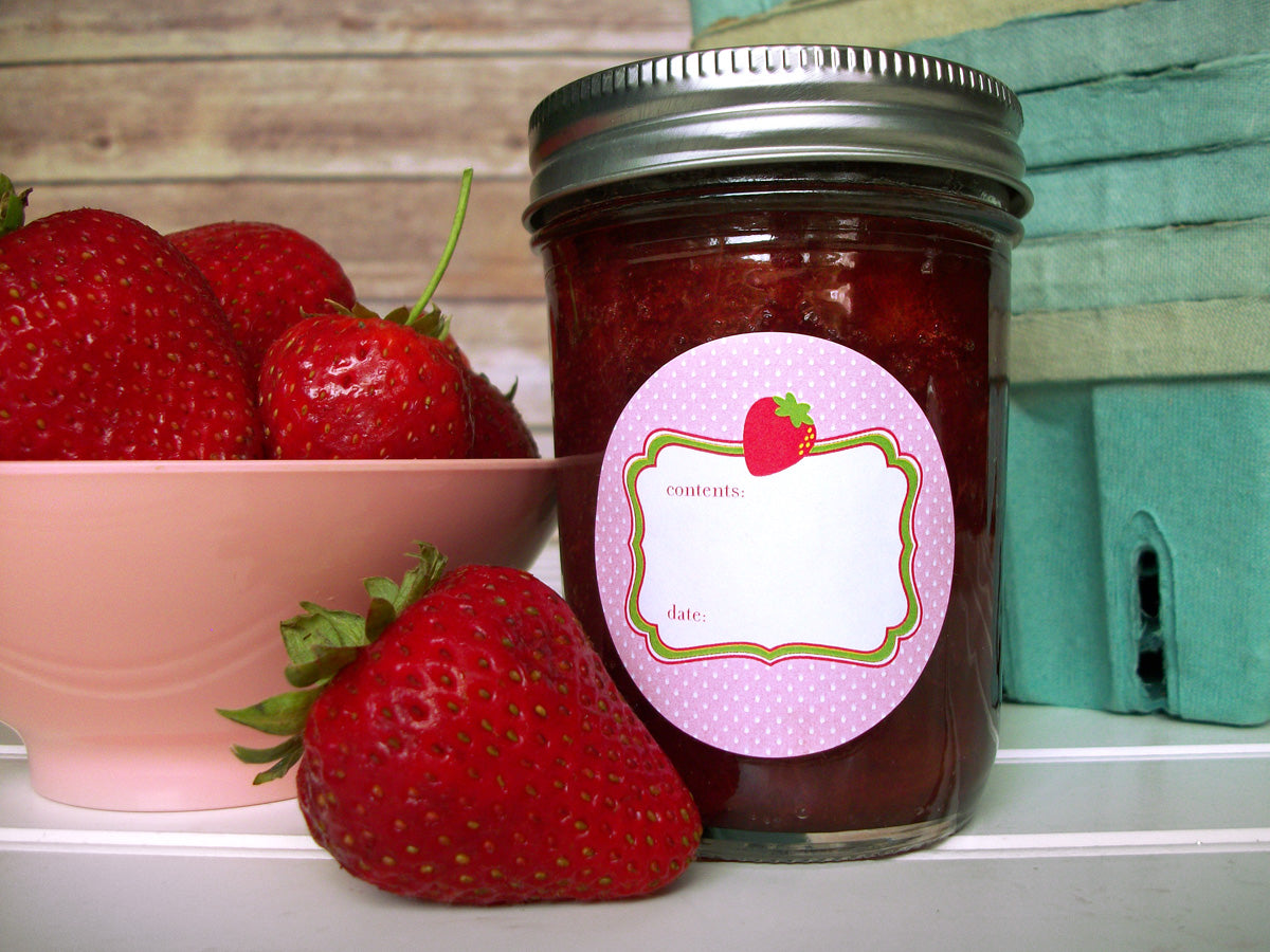 Cute Pink Strawberry Canning Jar Labels | CanningCrafts.com