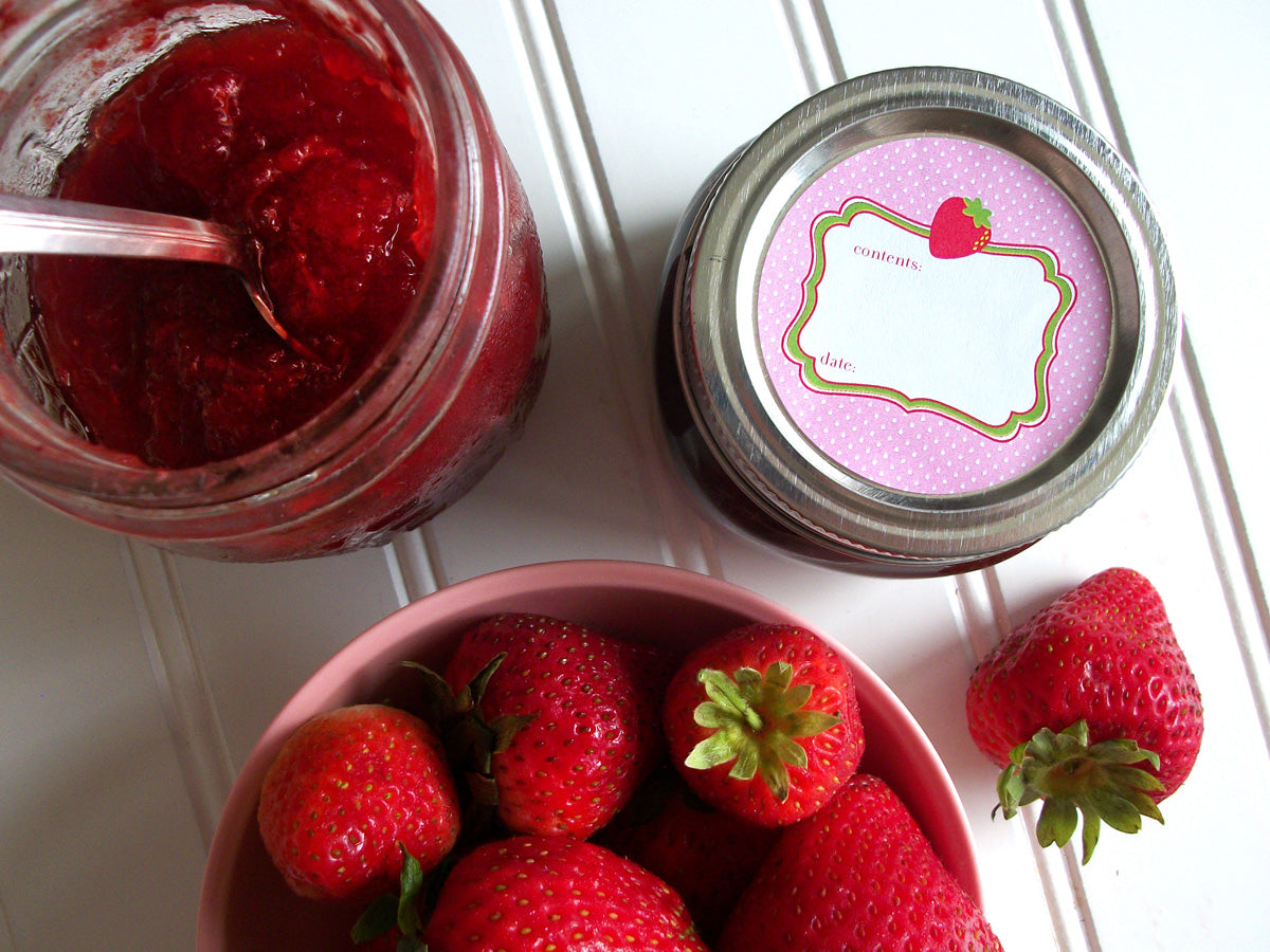 Cute Pink Strawberry Jam Canning Labels | CanningCrafts.com