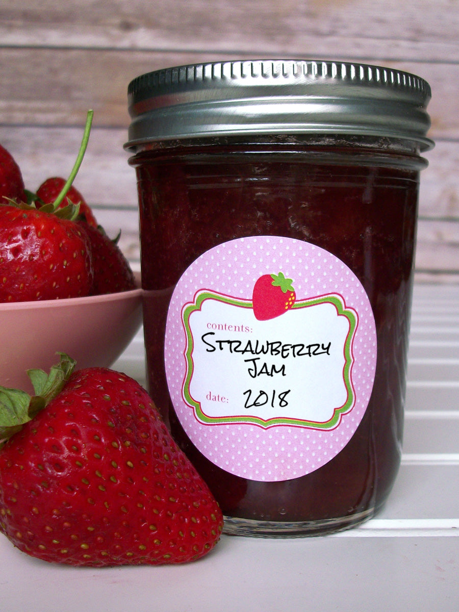 Cute Pink Strawberry Jam & Jelly Canning Jar Labels | CanningCrafts.com