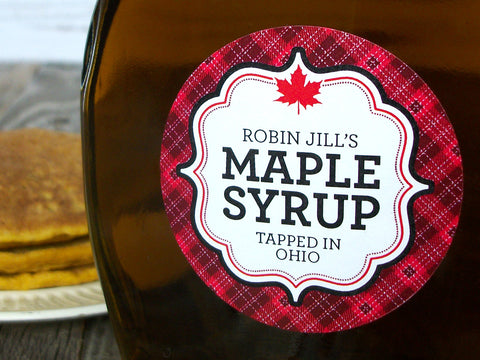 Custom Plaid Maple Syrup Labels | CanningCrafts.com