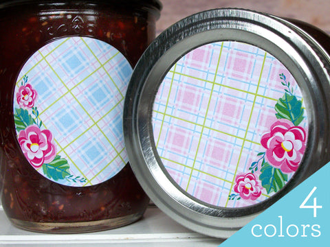Plaid Floral Canning Labels | CanningCrafts.com