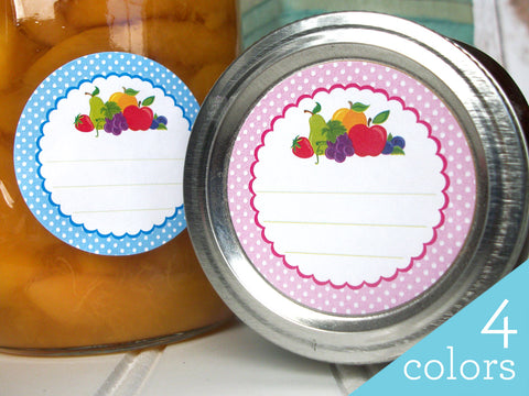 Polka Dot Fruit Canning Labels | CanningCrafts.com