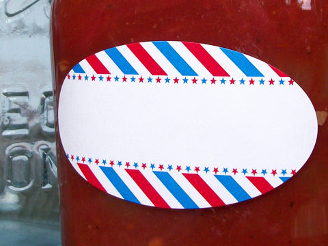 Red White & Blue Stars & Stripes Quilted canning jar labels | CanningCrafts.com