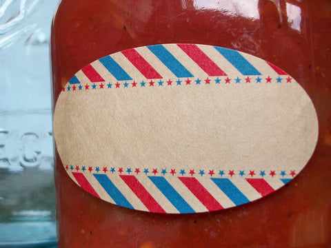Red White & Blue  kraft paper quilted canning jar labels | CanningCrafts.com