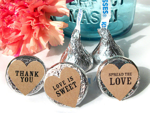 Kraft Hershey Kiss Wedding Heart Labels | CanningCrafts.com