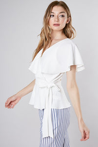 Do Be white wrap top with peek a boo back