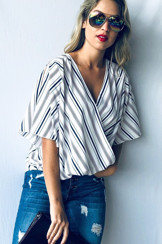 Barbara striped faux wrap top
