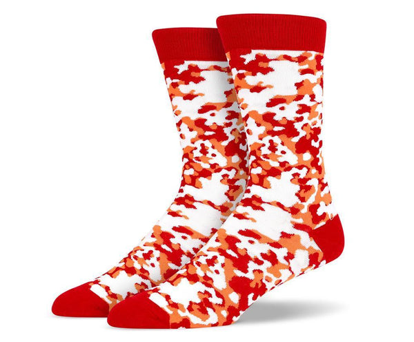 Mens Red Camouflage Socks