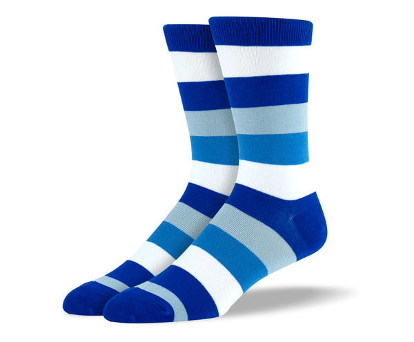 Men's Blue & White Big Stripes Socks