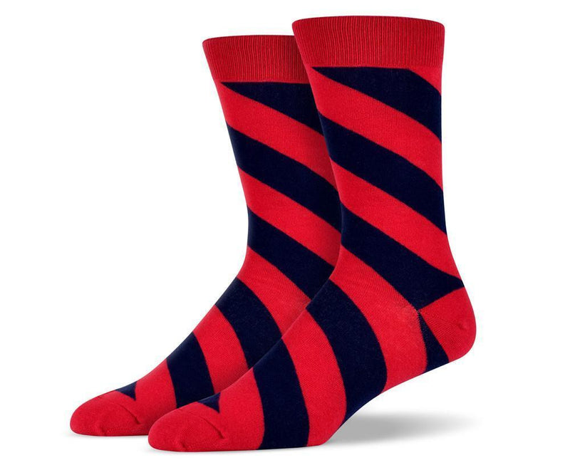 Mens Red Diagonal Striped Socks