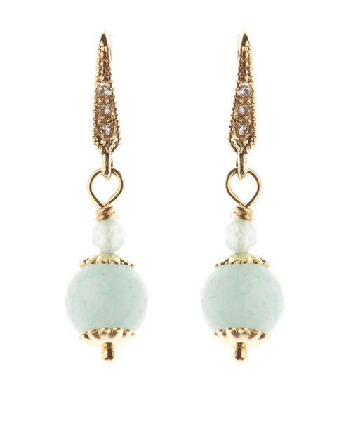Rosie Fox Aqua Agate Gold Ball Earrings