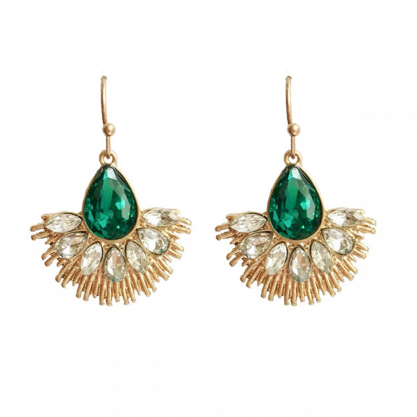 Lovett & Co Crystal Fan Earring in Emerald