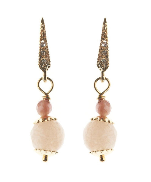 Rosie Fox Rose Quartz & Gold Ball Earrings