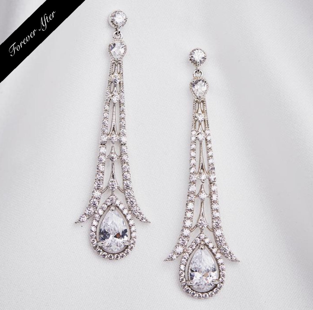 Lovett & Co Art Deco earring with crystal teardrop