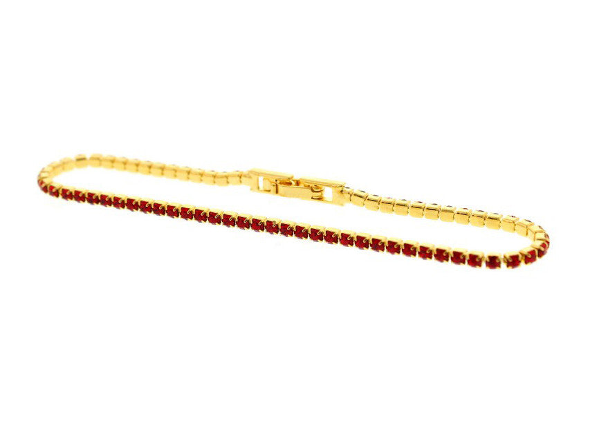 Nour London Red Single Row Crystal Bracelet
