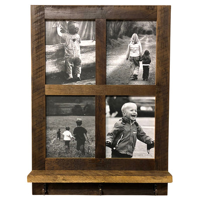 Reclaimed Wood 4 Pane Picture Frame Shelf with Hooks - Rustic Red Door Co.